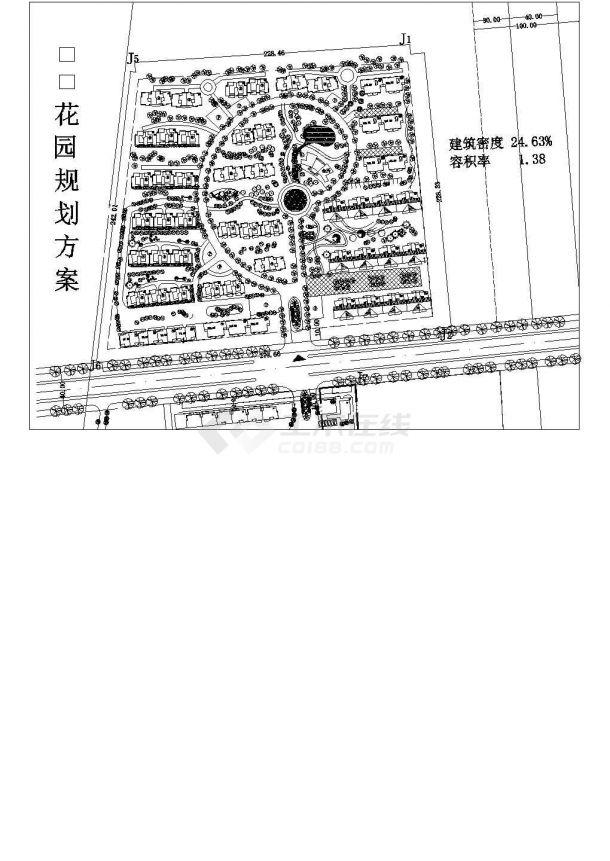 某城市花园住宅小区景观规划设计cad施工总平面图-图一