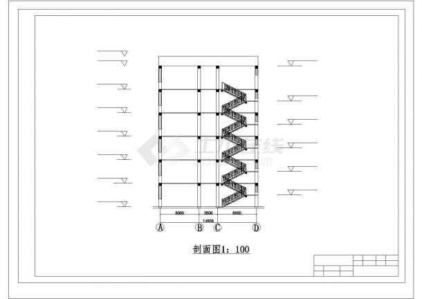 【6层】3100平米左右一字型CAD框架办公楼毕业设计(含建筑结构图、计算书)-图一