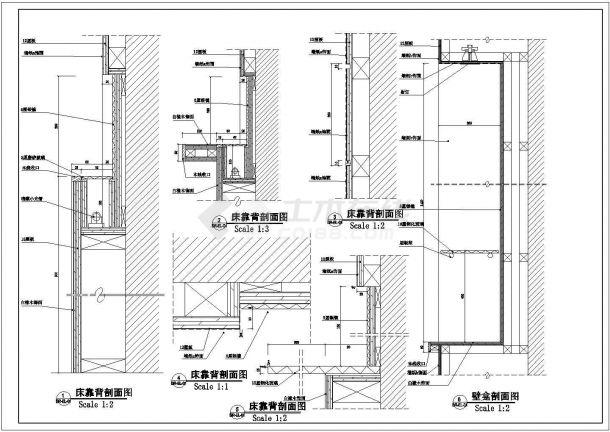 经典酒店标准单人房装修设计cad立面施工详图-图一