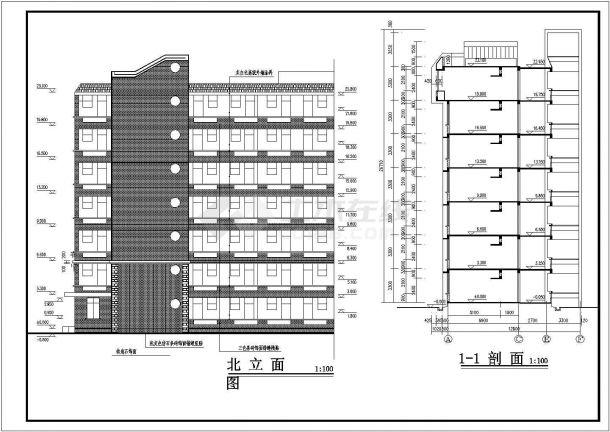 某地区外国语大学七层学生建筑工程设计CAD图(含平立剖)-图二