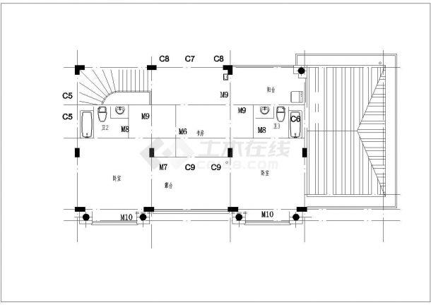 长春市星湖花园小区2层砖混结构高档别墅建筑设计CAD图纸-图一