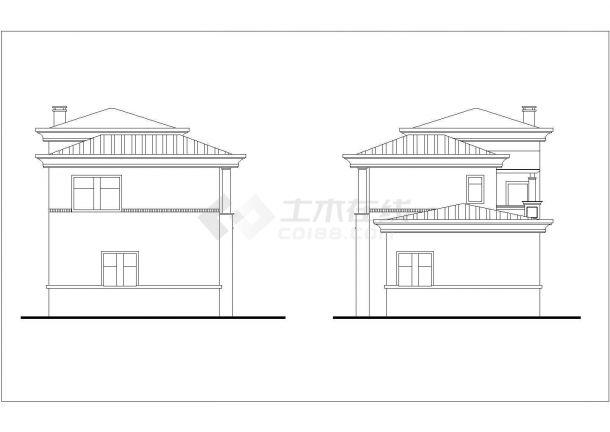 长春市星湖花园小区2层砖混结构高档别墅建筑设计CAD图纸-图二