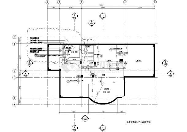 无锡某小区590平米3层框混结构单体别墅建筑设计CAD图纸(含地下室)-图一