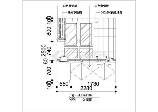 某住宅楼厨房装修设计cad立面施工详图-图二