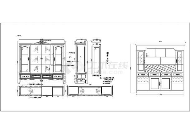 经典30款实木酒柜装修设计CAD全套施工图图库-图一