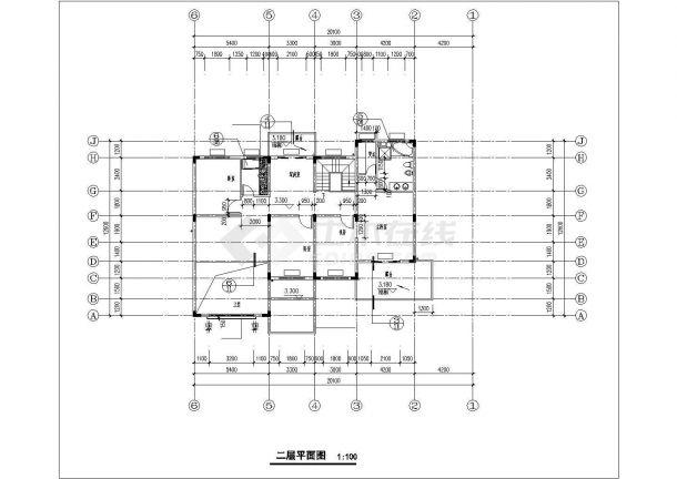 成都某村镇396+540平米两套双层混合结构独栋别墅建筑设计CAD图纸-图二
