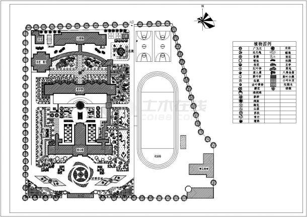 成都市青羊大道某附属中学内部平面绿化规划设计CAD图纸-图一