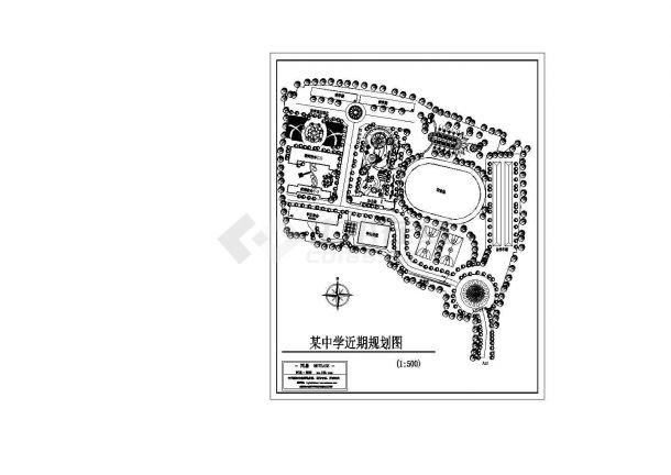 南京市建邺区某大学附属中学校区总平面规划设计CAD图纸-图一
