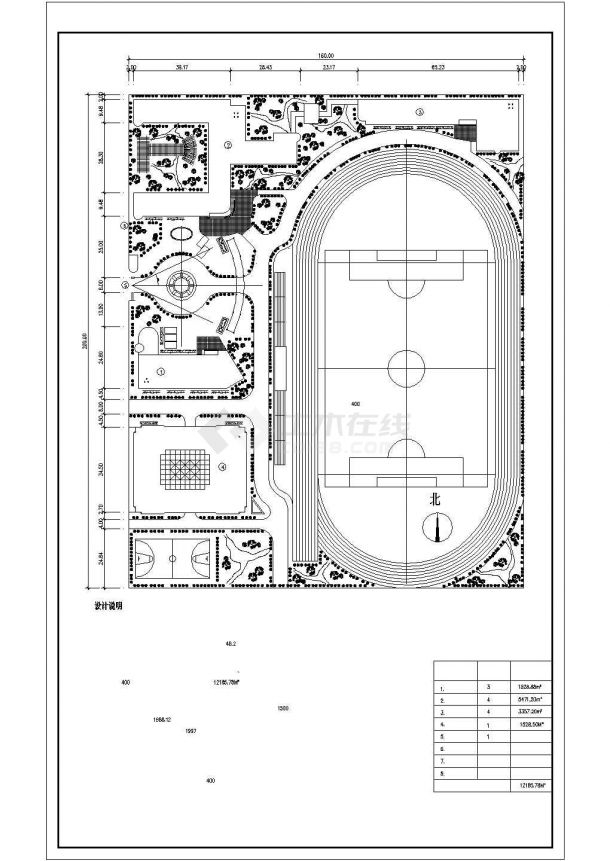 商丘市某高级实验中学总平面规划设计CAD图纸(1.2万平米/2套方案)-图二