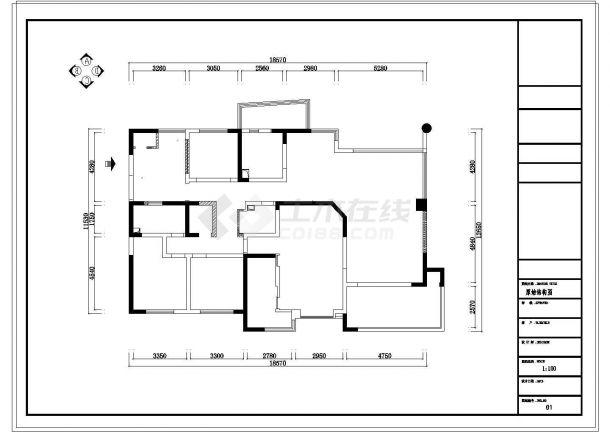 [成都]220㎡典雅中式风情五居室CAD装修施工图-图一