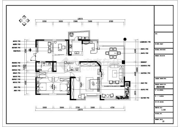 [成都]220㎡典雅中式风情五居室CAD装修施工图-图二