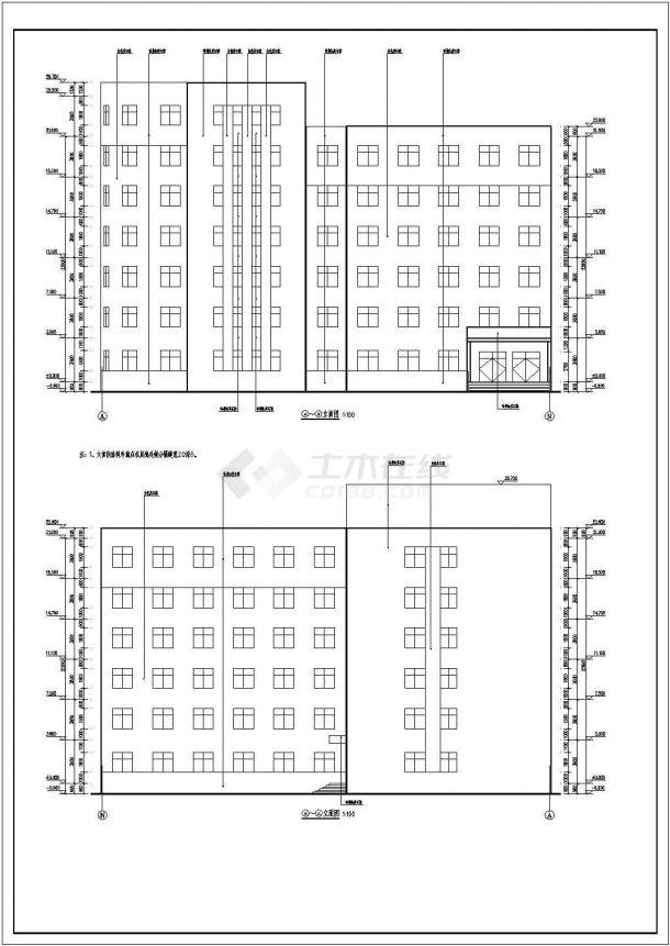 合肥市某高校7790平米7层框架结构教学实验楼建筑设计CAD图纸-图一