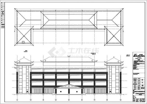 郑州市某大型私立中学教学楼+食堂+宿舍全套建筑设计CAD图纸-图二