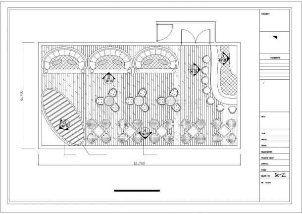 上海市徐汇区某高档商务酒吧平面装修装饰设计CAD图纸-图二