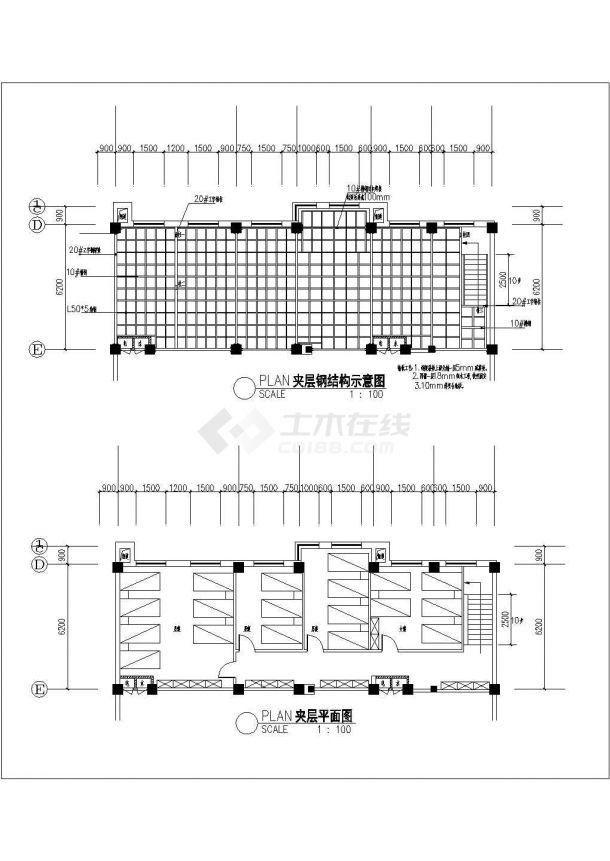 某汽车美容服务中心装修设计cad施工详图-图一