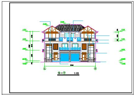某双拼三层小别墅建筑cad设计施工图纸-图二