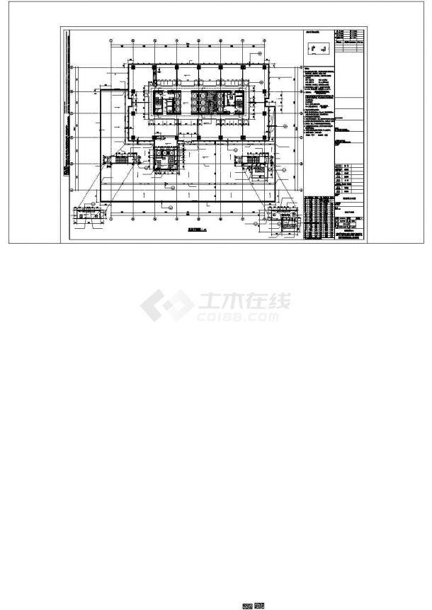 某地区超高层框架核心筒结构企业办公楼方案设计施工CAD图纸-图一