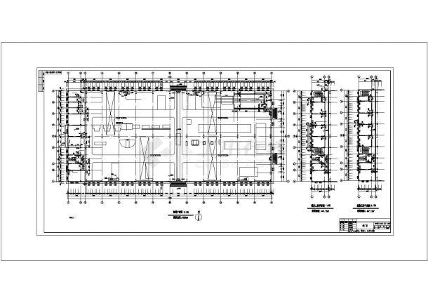 某地上单层钢筋混凝土排架结构工业厂房结构建筑方案设计施工CAD图纸-图一