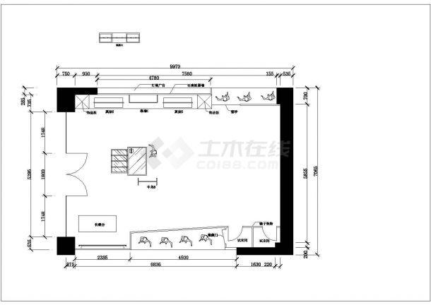 某130平方服装专卖店室内装修设计cad详细施工图-图一