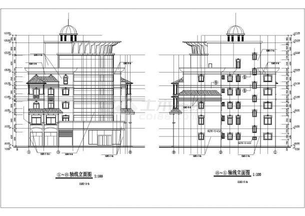 吉安市某拆迁安置小区6层框架结构住宅楼全套建筑设计CAD图纸-图一