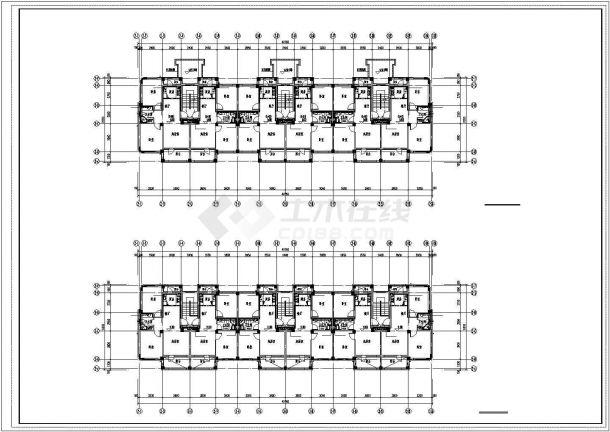 南通市北桥小区5+1层砖混结构住宅楼给排水平面设计CAD图纸(5套方案)-图二