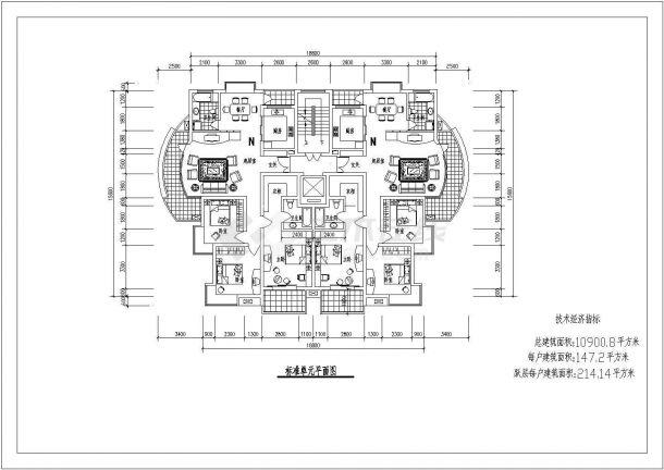 航运新村高层住宅建筑5设计全套施工cad图-图二