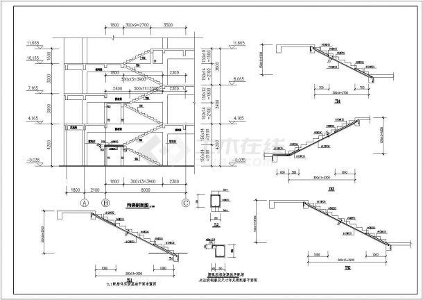 江苏小区会所设计结构建筑设计全套施工cad图-图二
