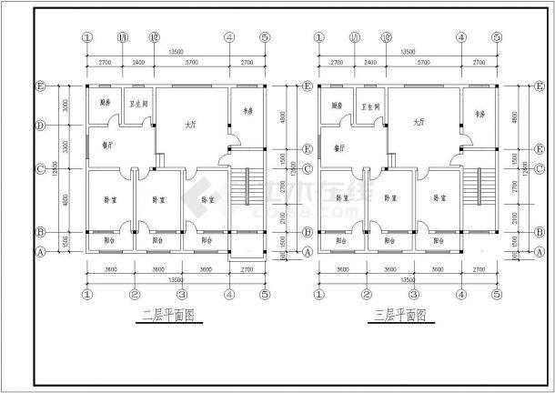 三套三层住宅建筑设计全套施工cad图-图一