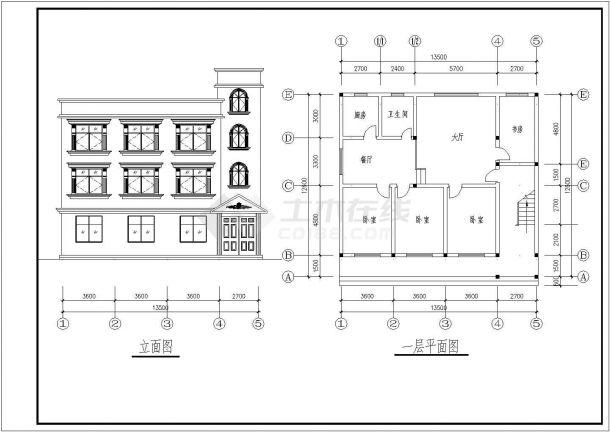 三套三层住宅建筑设计全套施工cad图-图二