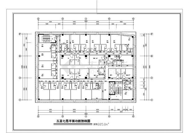 广州市白云西路某7层砖混结构星级酒店全套平面设计CAD图纸-图一