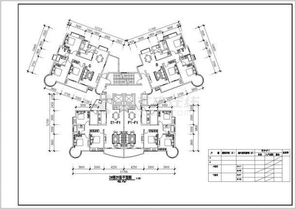丽水市白玉花园小区三栋住宅楼的标准层平面设计CAD图纸-图一