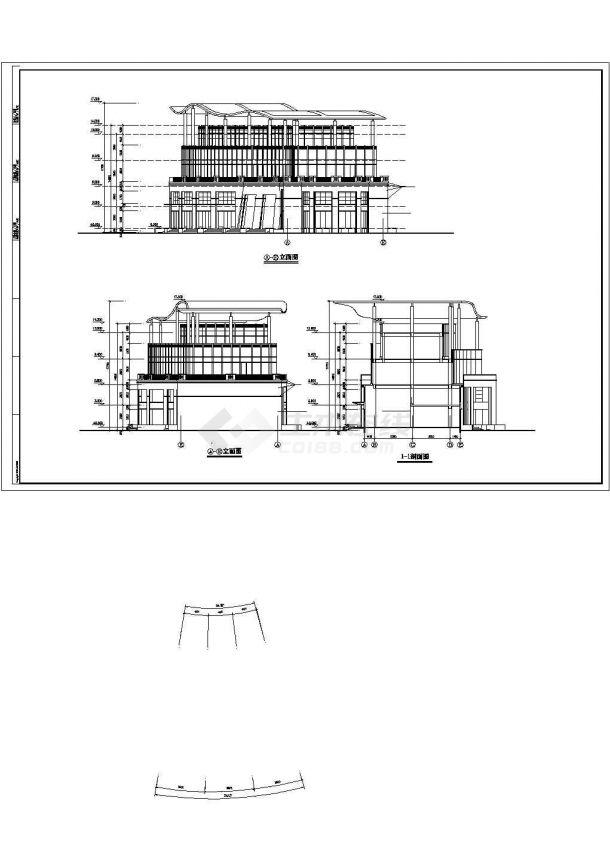 上海劳动路某3层框架结构商务娱乐会所建筑设计CAD图纸(含夹层)-图二