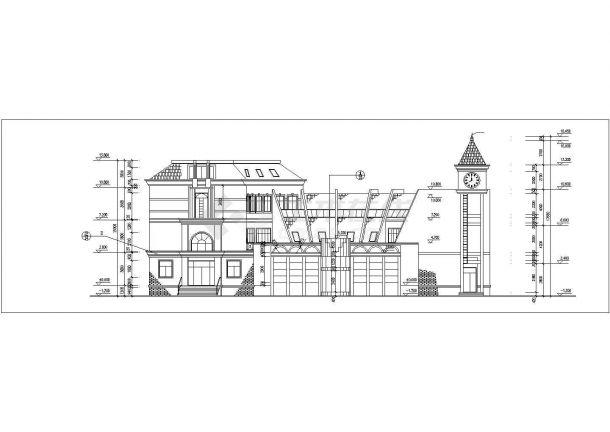 3层砖混扇形砖混结构商务娱乐会所建筑设计CAD图纸(含阁楼和地下室)-图一