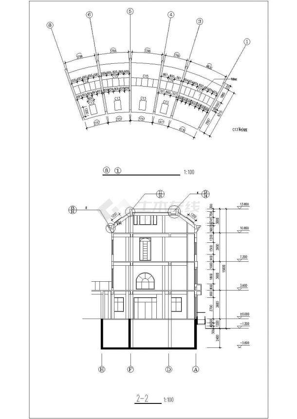 3层砖混扇形砖混结构商务娱乐会所建筑设计CAD图纸(含阁楼和地下室)-图二