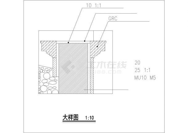杭州市上塘街某高档商务会所入口景墙全套设计CAD图纸-图一