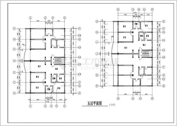 平湖市汤家巷2280平4层框架结构商住楼建筑设计CAD图纸(1-2层商用)-图二