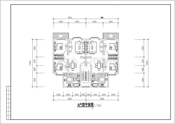 苏州市干将路某小区6层砖混住宅楼平立面设计CAD图纸(含跃层/4套方案)-图二