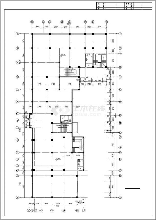 西安市文化公园小区6层框架结构住宅楼平面设计CAD图纸(6层为复式)-图一