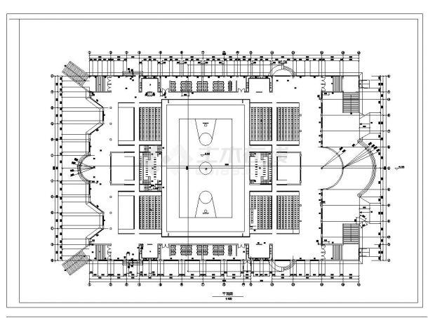 单层5千平米框架构体育馆建筑CAD设计图-图二