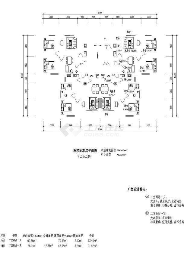 某城市板式高层住宅建筑户型设计施工CAD图纸-图一
