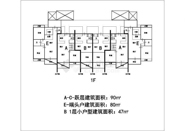 某城市高层叠加建筑户型设计施工CAD图纸-图一