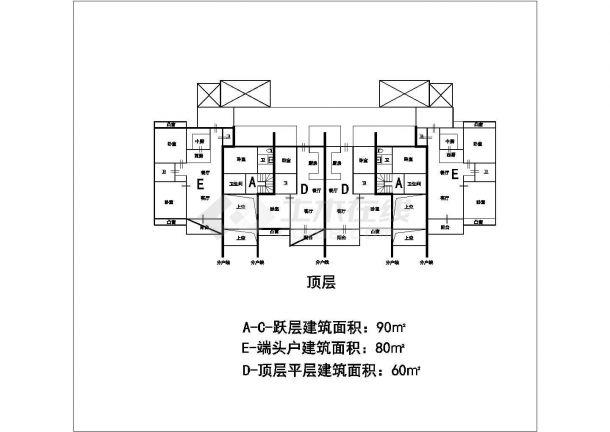 某城市高层叠加建筑户型设计施工CAD图纸-图二