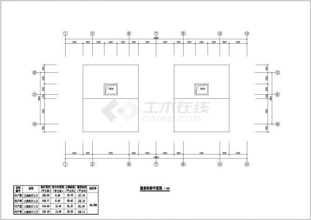 某城市叠拼别墅建筑户型设计施工CAD图纸-图二