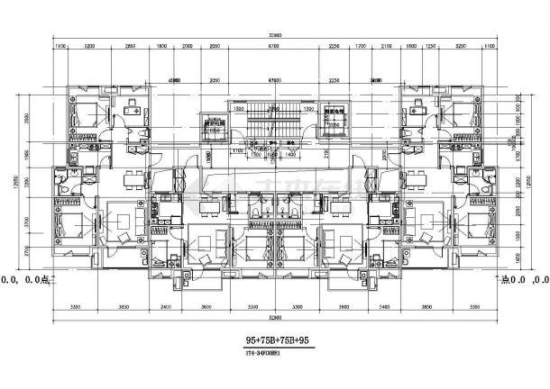 某城市标准化商业住宅建筑户型设计施工CAD图纸-图一