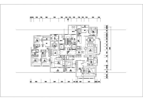 某城市小区内高层建筑户型设计施工CAD图纸-图二