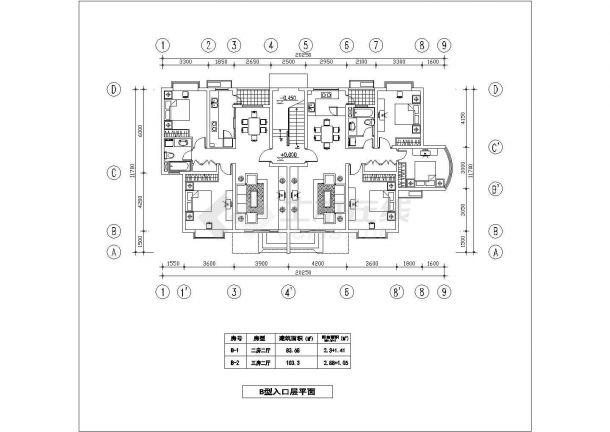 昆山新泉花园小区2栋6层砖混结构住宅楼全套平面设计CAD图纸-图一