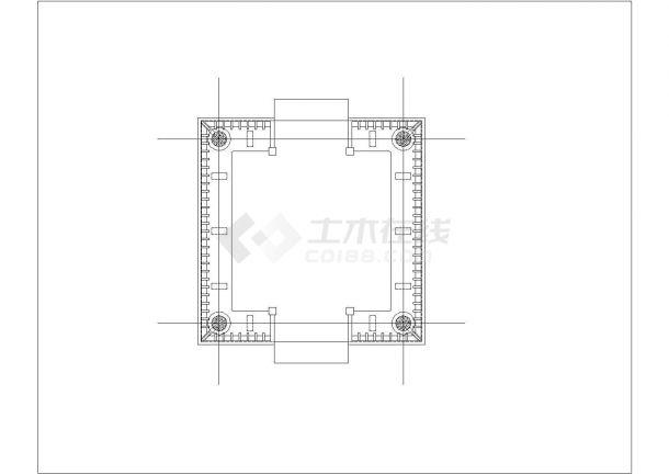 某地区旅游产业四角亭古建设计施工CAD图纸-图一