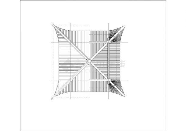 某地区旅游产业四角亭古建设计施工CAD图纸-图二