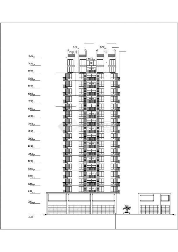 广州市迎宾花园小区18+2层框架商住楼建筑设计CAD图纸(1-2层商用)-图二