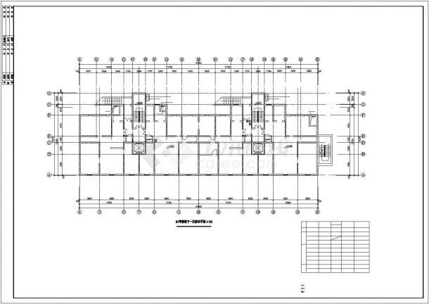 昆山市某大型购物商城地下单层停车场平面设计CAD图纸(2栋楼)-图二